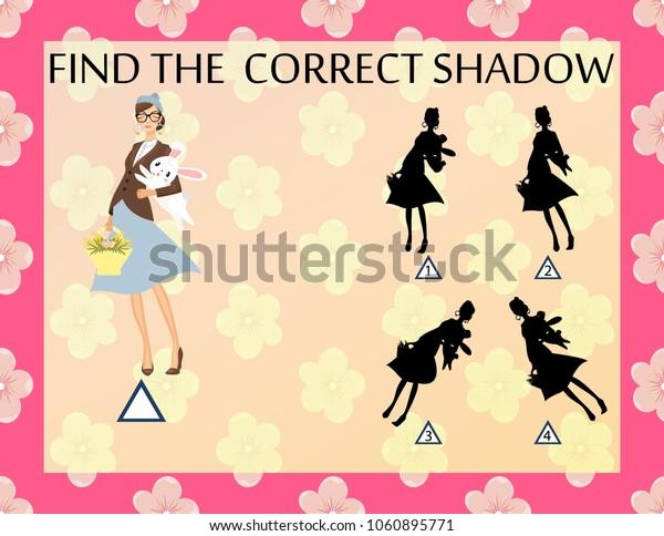 Find the correct shadow. Fashion girl illustration. Preschool kindergarten worksheet.