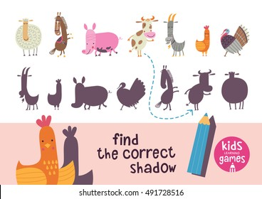 Find the correct shadow. Kids learning games collection. Farm animals.