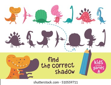 Find the correct shadow. Kids learning games collection. Cute dinosaurs.