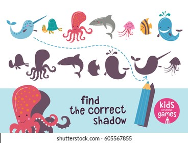 Find the correct shadow. Kids learning games collection. Sea animals.