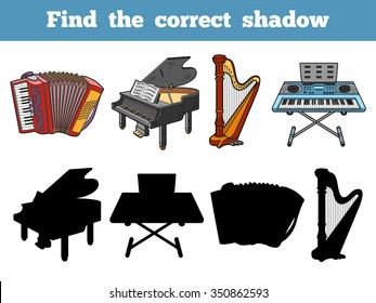 Find the correct shadow: musical instruments
