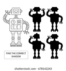 Find the correct shadow of robot.Children educational game.Vector illustration.
