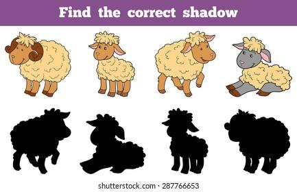 Find the correct shadow (sheep set, farm animal)