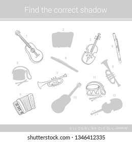 Find the correct shadow.Children educational game. Musical instruments. Coloring page.