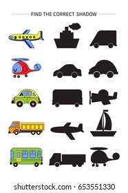 Find the correct shadow.Children educational game.Vector illustration.