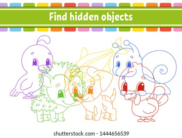 Find and count. Education developing worksheet. Activity page with pictures. Puzzle game for children. Logical thinking training. Isolated vector illustration. Funny character. Cartoon style.