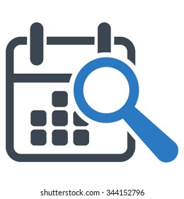 Find Date vector icon. Style is bicolor flat symbol, smooth blue colors, rounded angles, white background.