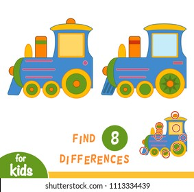 Find differences, education game for children, Train