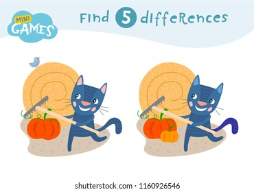 Find differences, education game for children, The cat is holding a rake. Animals on the farm