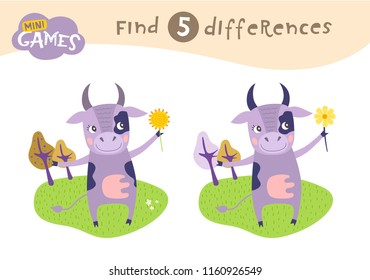 Find differences, education game for children, Cow in a meadow. Animals on the farm