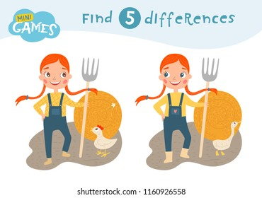 Find differences, education game for children, The girl with pigtails is holding a pitchfork. A stack of hay. Animals on the farm