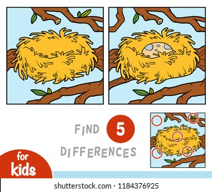 Find differences, education game for children, nest