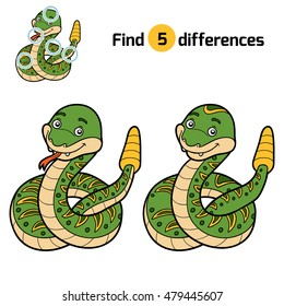 Find differences, education game for children, Rattle snake