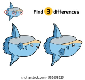 Find differences, education game for children, Ocean sunfish