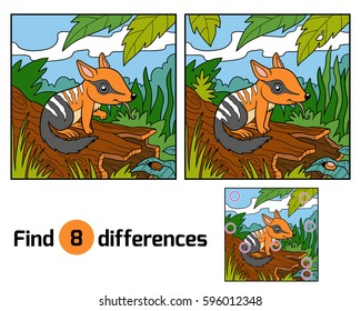 Find differences education game for children, Numbat