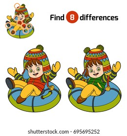 Find differences, education game for children, Happy girl riding on the tubing, inflatable sled