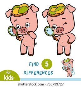 Find differences, education game for children, Pig and magnifier
