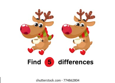 Find Differences Education Game for Children. Christmas Deer With Cup Of Tea. Cartoon Style Vector Illustration