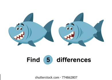 Find Differences Education Game for Children. Happy White Shark. Cartoon Style Vector Illustration