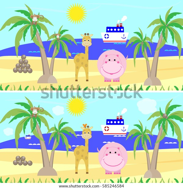 Find differences education game for children vector illustration
