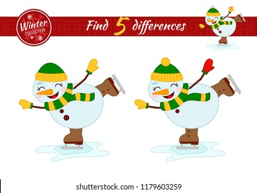 Find differences.  Educational game for children. Cartoon vector illustration. Christmas collection. Cartoon snowman skating.