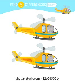 Find differences.  Educational game for children. Cartoon vector illustration of cute cat on a helicopter.