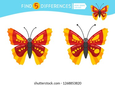 Find differences.  Educational game for children. Cartoon vector illustration of cute butterfly.