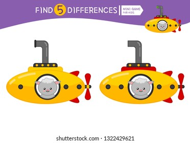 Find differences.  Educational game for children. Cartoon vector illustration of cute sheep in yellow submarine.