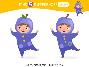 Find differences.  Educational game for children. Cartoon vector illustration of cute child in plum costume.