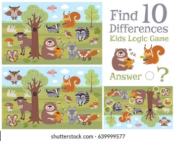 Find differences educational kids game with forest animal characters vector illustration