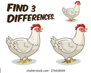 Find differences game hen chicken vector illustration