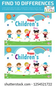 find differences, Game for kids ,find differences, Brain games, children game, Educational Game for Preschool Children,Vector Illustration