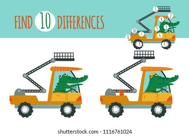 Find differences game. Vector illustration with cartoon animal and construction equipment: alligator and aerial work platform. Educational children game.