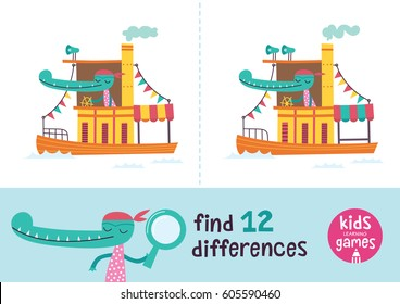 Find the differences. Kids learning games collection. Crocodile in a cartoon style is riding a boat.