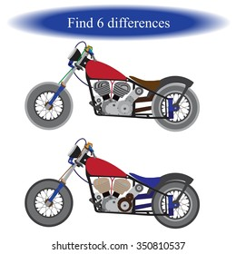 Find differences ( motorcycle ) for children. Vector illustration.