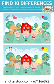 find differences,Game for kids ,find differences,Brain games, children game, Educational Game for Preschool Children, Vector Illustration,Three little pigs.  kids game, children game