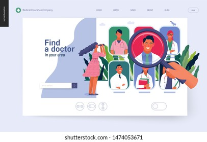 Find a doctor -medical insurance template -modern flat vector concept digital illustration - a hand with a magnifying glass, a woman with binocular, doctors portraits - a doctor searching metaphor