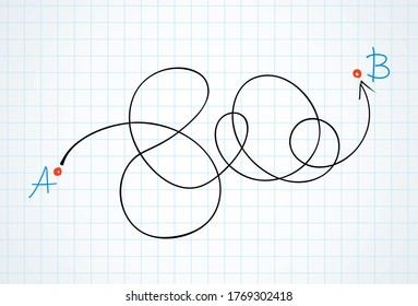 Find easy simple map walk move track way white paper text space view. Black ink marker pen hand drawn hard long guide solve letter flat logo pictogram sketch design in modern art doodle cartoon style