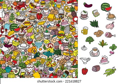 Find food, visual game. Solution in hidden layer! Illustration is in eps8 vector mode! Each elements are isolated and on separate layers.