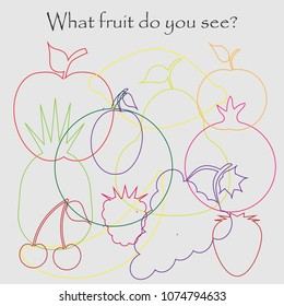 Find hidden objects on the picture, fruit theme, mishmash contour set, fun education game for kids, preschool activity for children, vector illustration