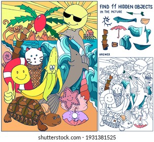 Find hidden objects. Summer. Puzzle for kids. Sea, beach, sun, palm, dolphins, turtle, ice cream. Game, puzzle for family celebration, school, party. Hand drawn vector.