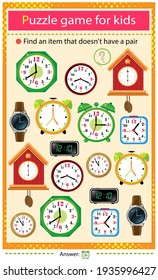 Find a item that does not have a pair. Puzzle for kids. Matching game, education game for children. Color set of watches. Alarm clock, wall clock with cuckoo, electronic timepiece, wristwatch.