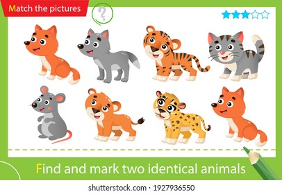 Find and mark two identical animals. Puzzle for kids. Matching game, education game for children. Baby animals. Little cat, wolf, lion, tiger, cheetah, fox, mouse. Worksheet for preschoolers