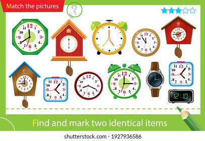 Find and mark two identical items. Puzzle for kids. Matching game, education game for children. Watches. Alarm clock, wall clock with cuckoo, electronic timepiece, wristwatch.