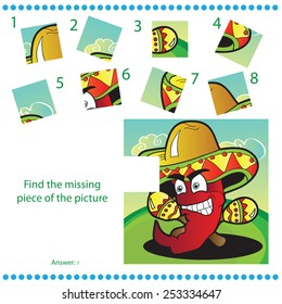 Find missing piece - Puzzle game for Children with funny pepper