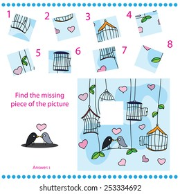 Find missing piece - Puzzle game for Children with funny birds