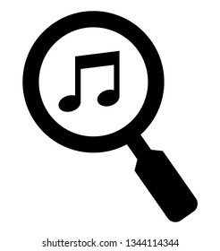 Find music icon. Vector icon of musical note under magnifying glass