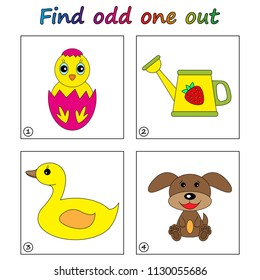 Find odd one out - game for kids. Worksheet. Visual Educational Game for children.