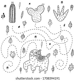 Find out which cactus will get the llama. Outline maze game for preschool kids. Black and white coloring page for children. Vector illustration