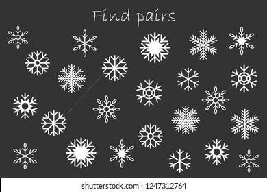 Find pairs of identical pictures, christmas fun education game with snowflakes for children, preschool worksheet activity for kids, task for the development of logical thinking, vector illustration